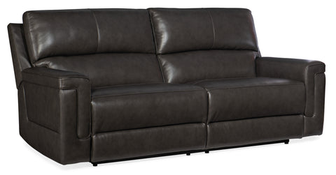Gable Leather Power 2 over 2 Sofa with Power Headrest