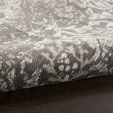 "Damask DAS06 Power-loomed 83% Polyester, 14% Cotton, 3% Rayon Dark Grey 3'6"" x 5'6"" Rectangle Rug"