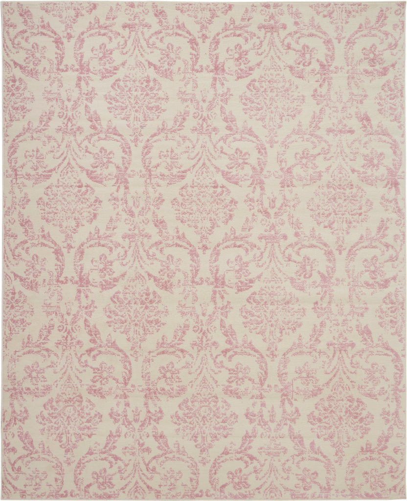 "Jubilant JUB09 Power-loomed 100% Polypropylene Ivory/Pink 8'6"" x 12' Rectangle Rug"