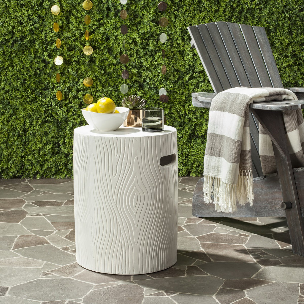 "Safavieh Trunk Accent Table Indoor Outdoor 16.5"" Modern Ivory Concrete VNN1004B 889048184442"