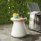 "Safavieh Button Accent Table Indoor Outdoor 18.1"" Modern Round Ivory Concrete Acacia VNN1005B 889048184459"