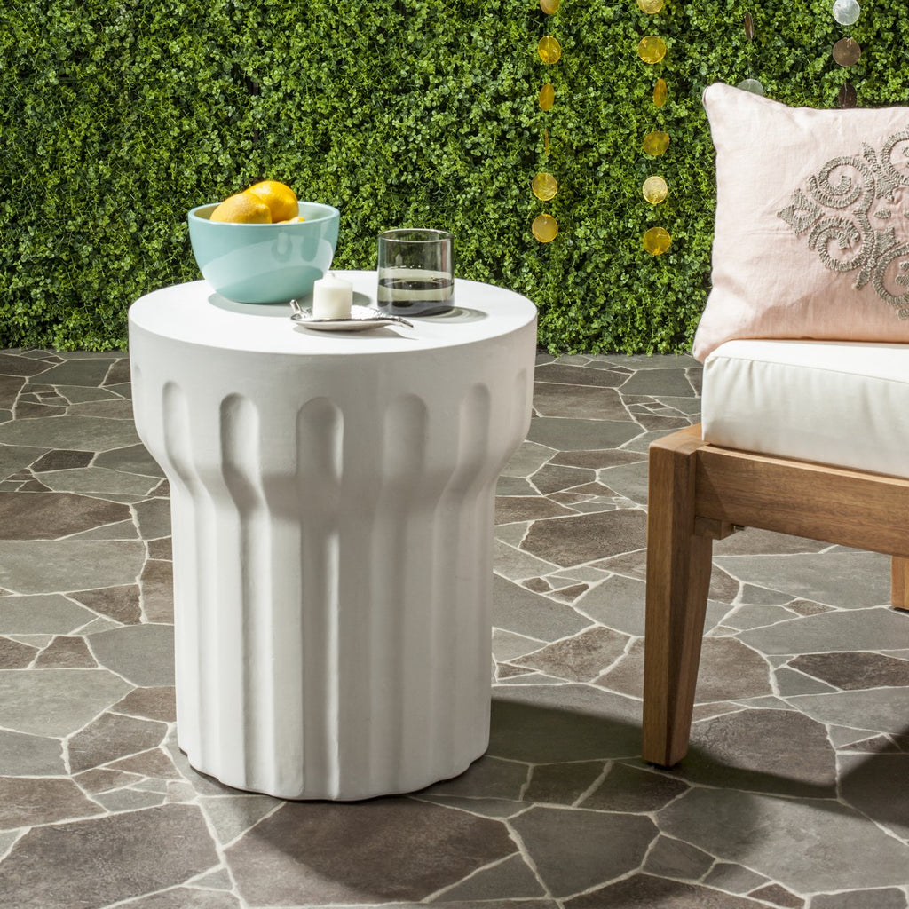 "Safavieh Vesta Accent Table Indoor Outdoor 15.3"" Modern Round Ivory Concrete VNN1009B 889048184497"