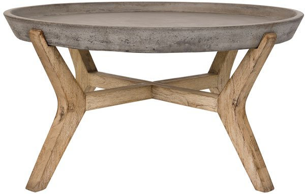 "Safavieh Wynn Coffee Table Indoor Outdoor 18.1"" Modern Round Dark Grey Acacia Wood VNN1013A 889048185869"