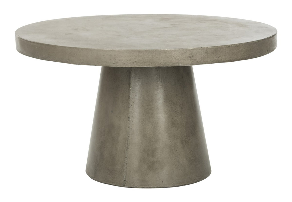 "Safavieh Delfia Coffee Table Indoor Outdoor 27.56"" Modern Round Dark Grey Concrete VNN1014A 889048326316"