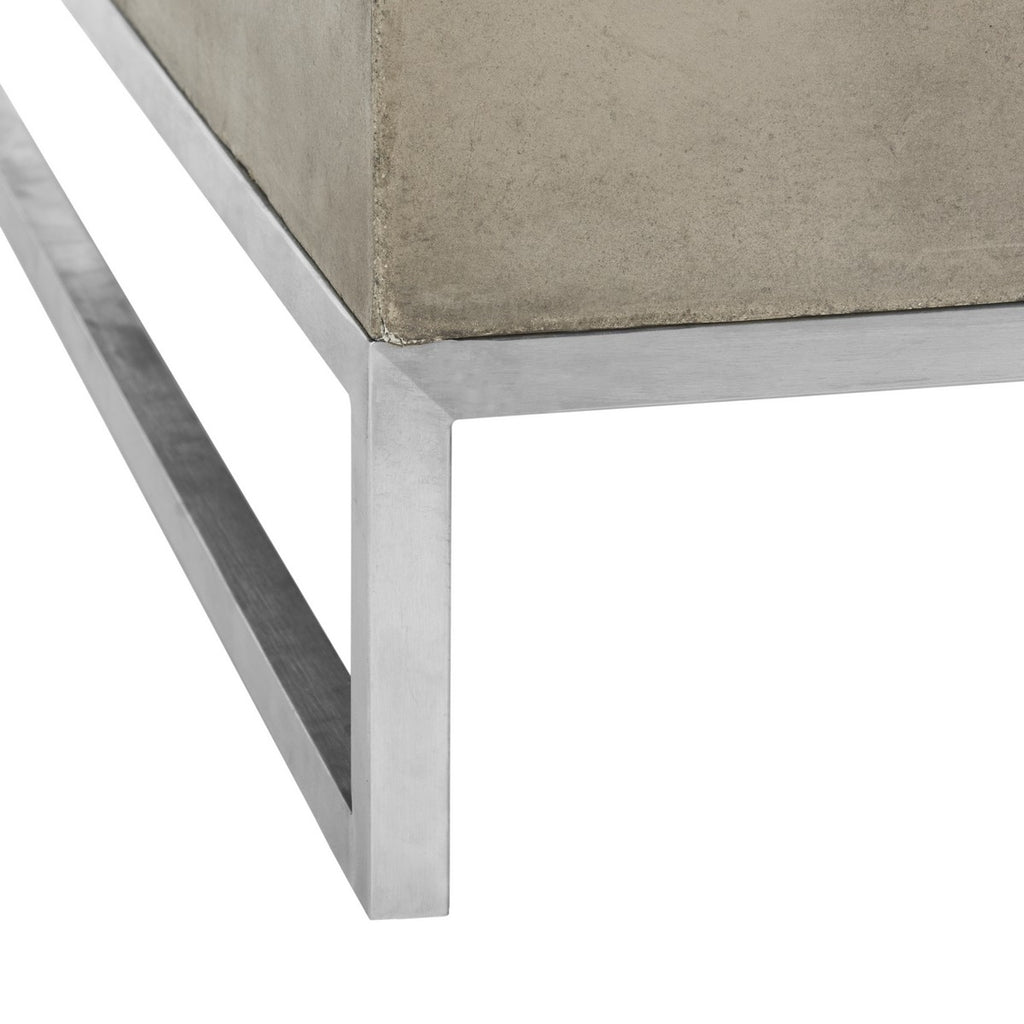 "Safavieh Eartha Coffee Table Indoor Outdoor 11.42"" Modern Dark Grey Concrete VNN1017A 889048326347"