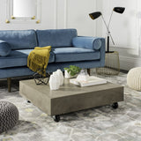 "Safavieh Gargon Coffee Table with Casters Indoor Outdoor 9.84"" Modern Dark Grey Concrete VNN1023A 889048326408"