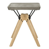 "Safavieh Marcio Side Table Indoor Outdoor 19.69"" Modern Dark Grey Natural Black Concrete Oak Steel VNN1024A 889048326415"