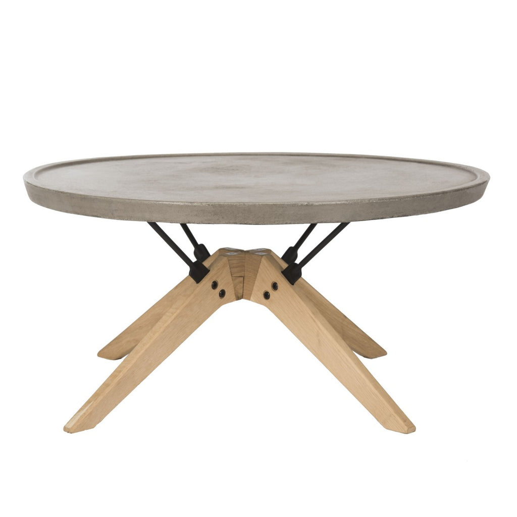 "Safavieh Bryson Coffee Table Indoor Outdoor 14.57"" Modern Round Dark Grey Natural Black Concrete Oak Steel VNN1026A 889048326439"