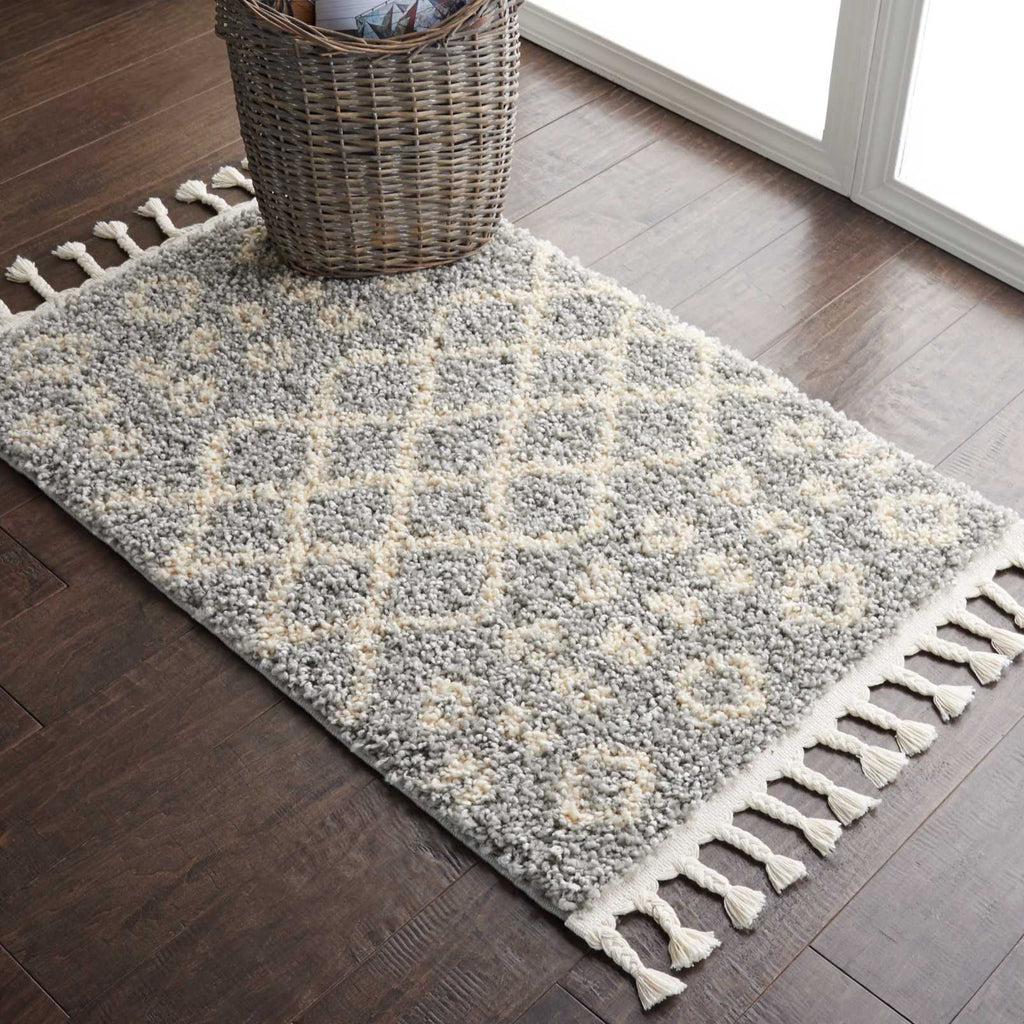 "Moroccan Shag MRS02 Power Loomed 100% Polypropylene Silver 2'2"" x 4' Rectangle Rug"