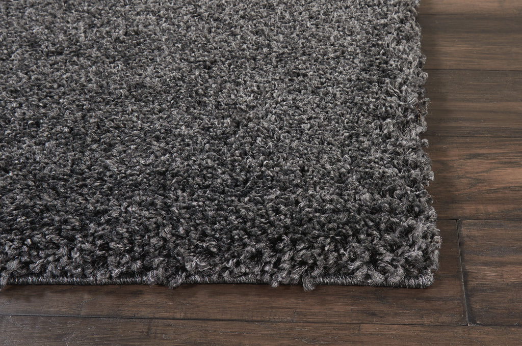 "Malibu Shag MSG01 Power Loomed 100% Polypropylene Dark Grey 6'7"" x 9'6"" Rectangle Rug"