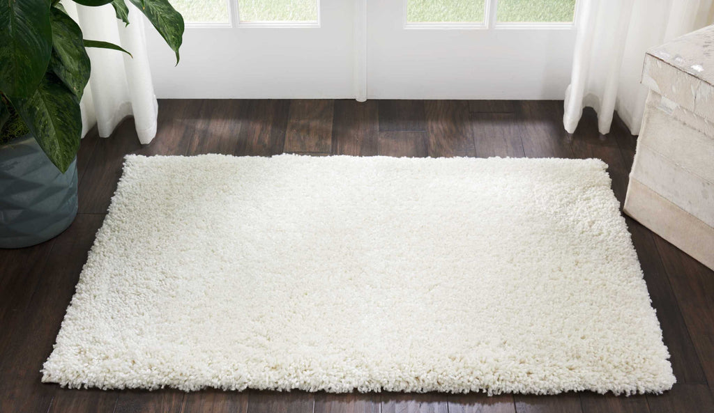 "Malibu Shag MSG01 Power Loomed 100% Polypropylene Ivory 2'6"" x 4' Rectangle Rug"