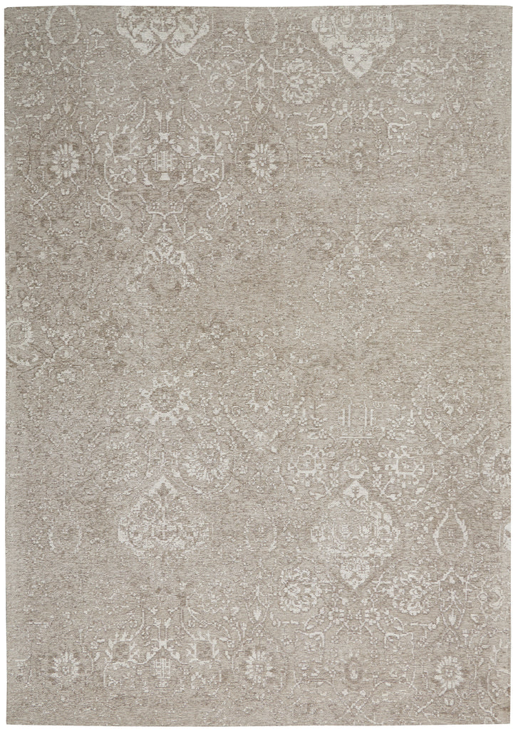 "Damask DAS06 Power-loomed 83% Polyester, 14% Cotton, 3% Rayon Lt Grey 3'6"" x 5'6"" Rectangle Rug"