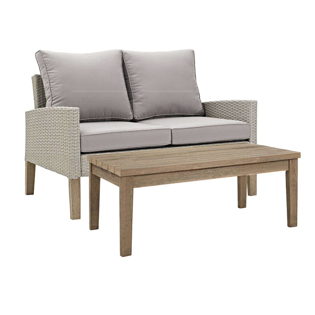 2 Piece Modern Patio Rattan Chat Set in Rattan, Eucalyptus Wood, Upholstery