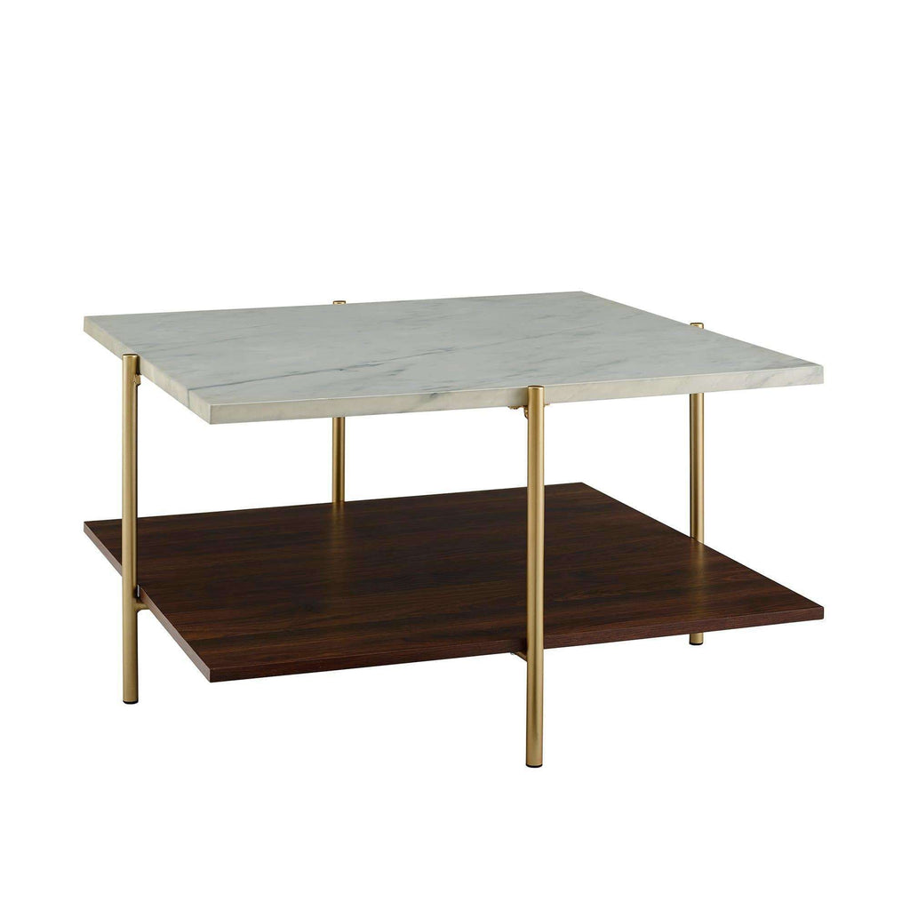 2-Piece Square Coffee Table Set - White Faux Marble / Gold in High-Grade Mdf, Durable Laminate, Metal, Glass