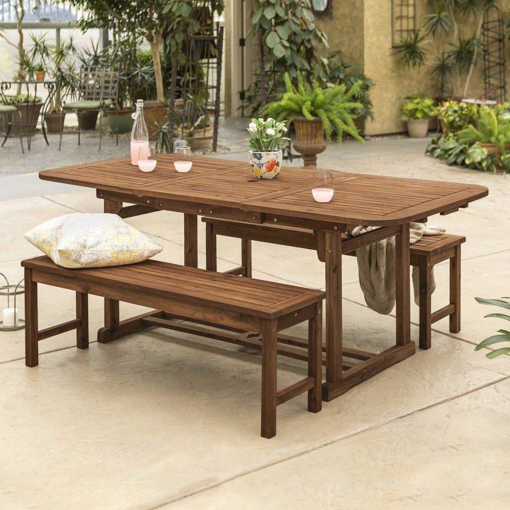 3-Piece Acacia Outdoor Patio Dining Set