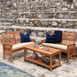 3-Piece Acacia Wood Outdoor Patio Conversation Set - Brown in Solid Acacia Hardwood, Polyester Cushions