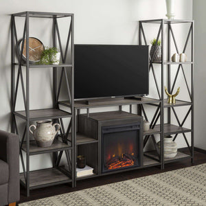 3-Piece Rustic Fireplace TV Stand Set