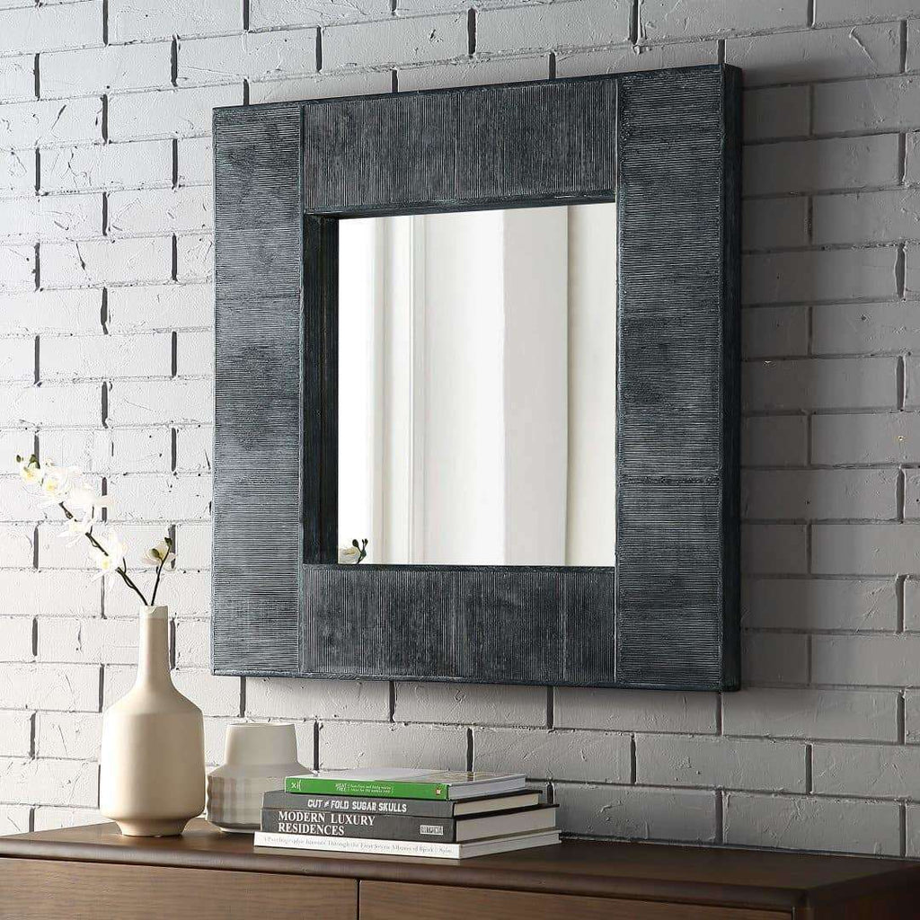 "32"" Modern Industrial Square Wall Mirror in Solid And Manufactured Wood, Mirror"