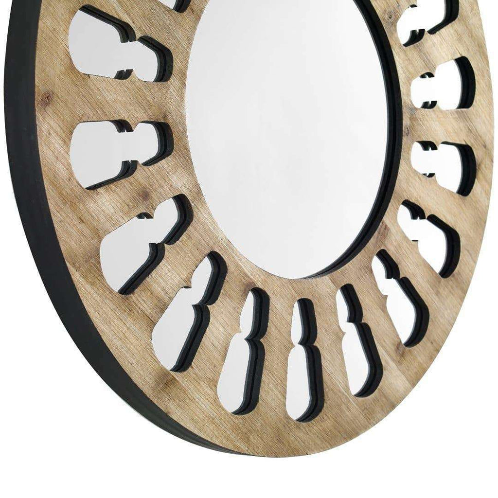 "32"" Rustic Round Wood Wall Mirror "" Natural Wash in Solid And Manufactured Wood, Mirror"