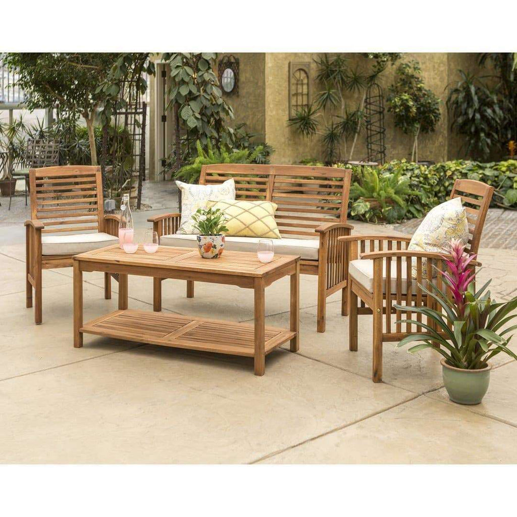4-Piece Acacia Wood Outdoor Patio Conversation Set with Cushions