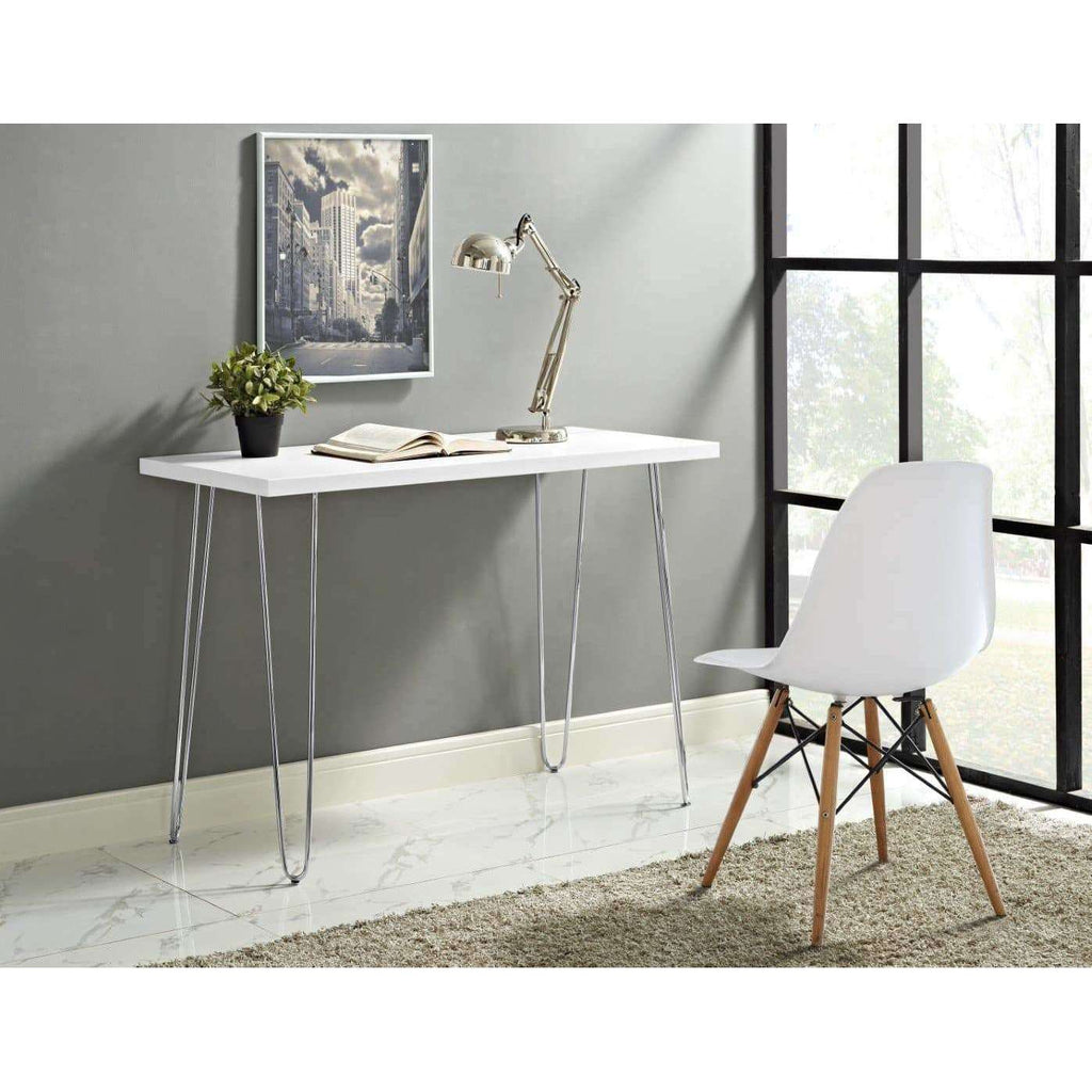 Image of: 42 Mid Century Modern Wood Computer Desk White In High Grade Painte English Elm
