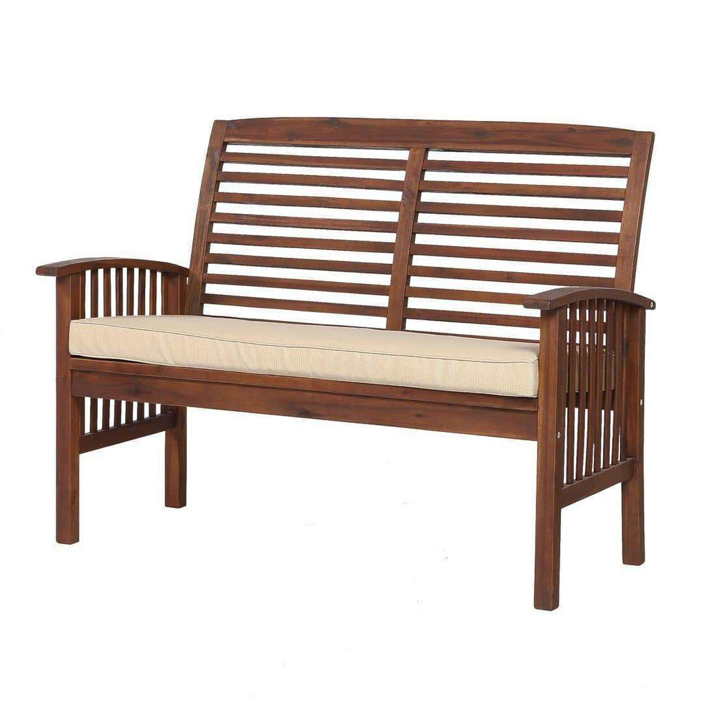 "48"" Acacia Wood Outdoor Patio Loveseat"