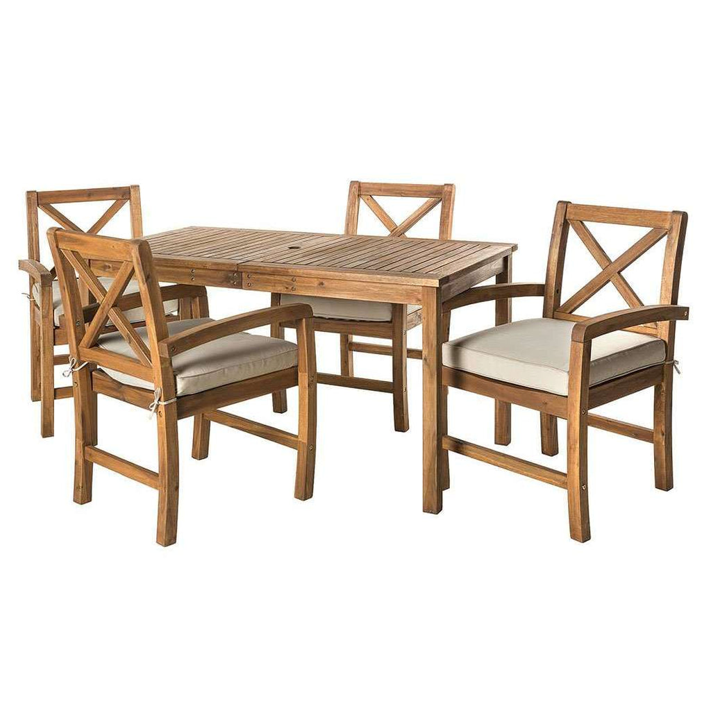 5-Piece Patio Dining Set - Brown in Acacia Wood, Polyester