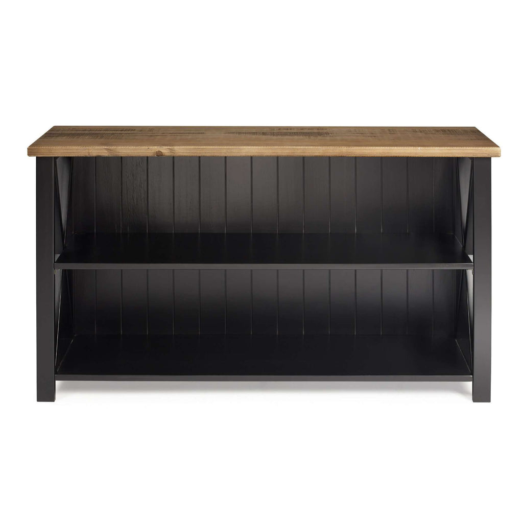 "52"" Solid Wood Farmhouse Storage Console Reclaimed Barnwood/Black"