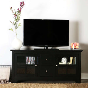 "52"" Transitional Glass Wood TV Stand"