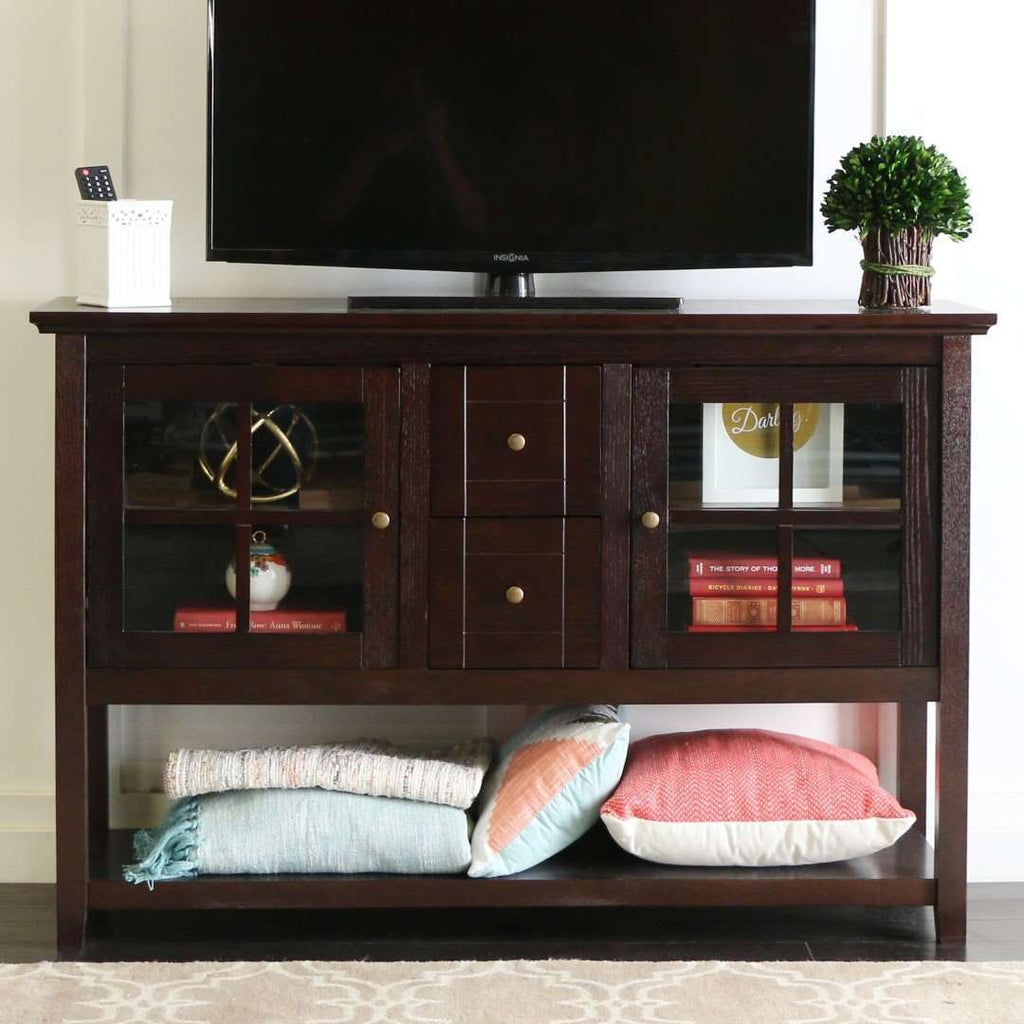 "52"" Transitional Wood Glass TV Stand Buffet"