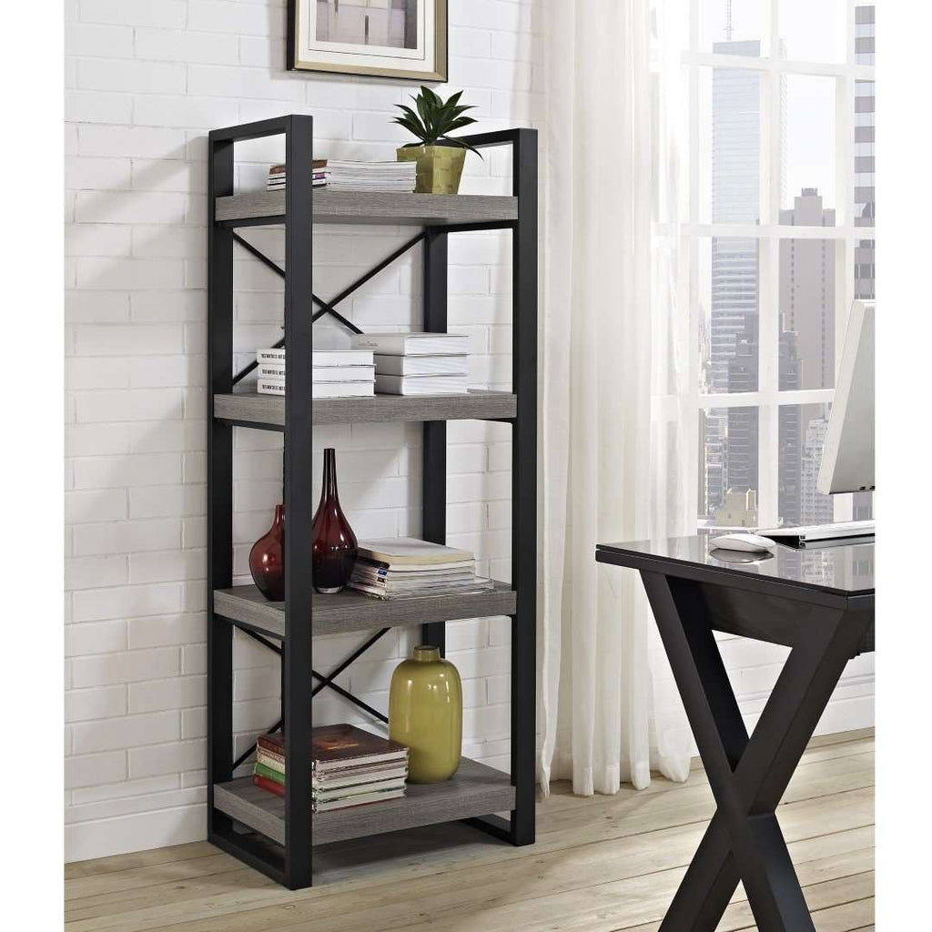 "62"" Industrial 4-Shelf Bookcase - Driftwood in High-Grade Mdf, Durable Laminate, Powder Coated Steel"