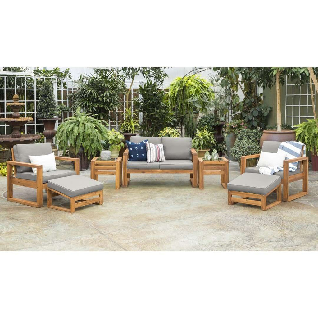 7-Piece Modern Patio Chat Set in Acacia Wood, Polyester, Glass