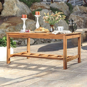 Acacia Wood Ladder Base Coffee Table - Brown in Solid Acacia Hardwood