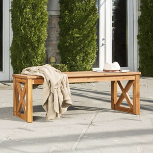 Acacia Wood X-Frame Outdoor Patio Bench - Brown in Solid Acacia Hardwood