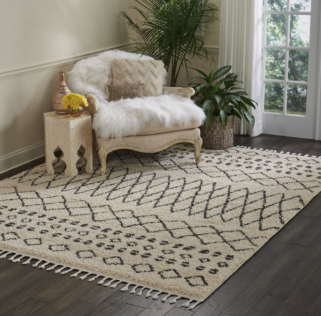 "Moroccan Shag MRS02 Power-loomed 100% Polypropylene Cream 7'10"" x 10'6"" Rectangle Rug"