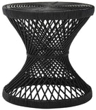 Safavieh Grimson Accent Table Small Bowed Black Rattan NC Coating Mango WIK6506A 889048264717