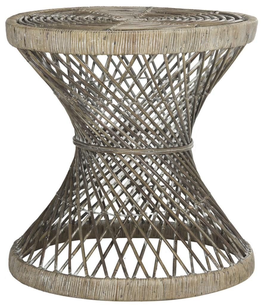 Safavieh Grimson Accent Table Small Bowed Grey White Wash Rattan NC Coating Mango WIK6506B 889048264724