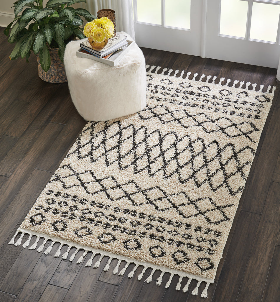 "Moroccan Shag MRS02 Power-loomed 100% Polypropylene Cream 3'11"" x 6'7"" Rectangle Rug"