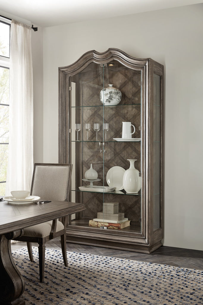 Hooker Furniture Woodlands Traditional-Formal Display Cabinet in Poplar and Hardwood Solids with Quartered Oak and Flat Cut Primavera Veneers and Glass 5820-75906-84