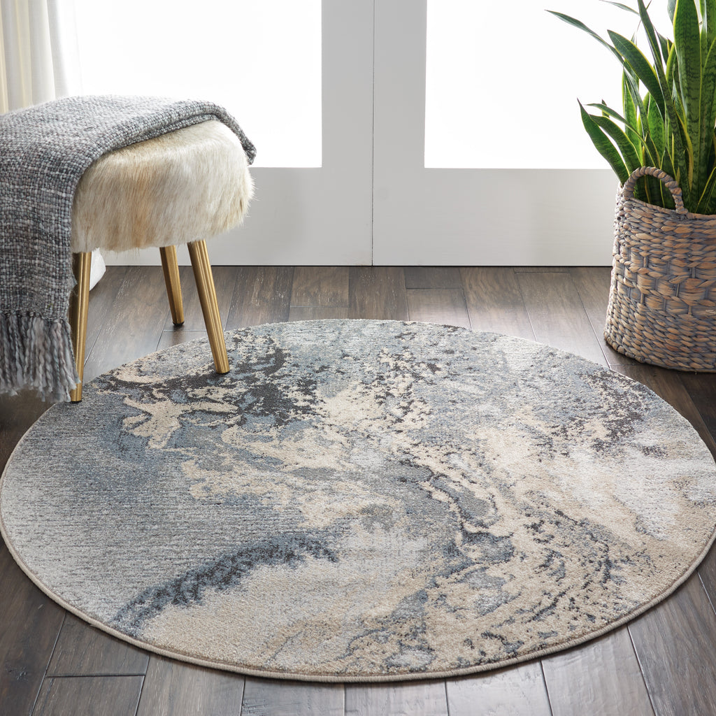 "Maxell MAE08 Power Loomed 100% Polyester Grey 5'3"" x Round Round Rug"