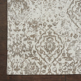 Damask DAS06 Power Loomed 83% Polyester, 14% Cotton, 3% Rayon Ivory 9' x 12' Rectangle Rug
