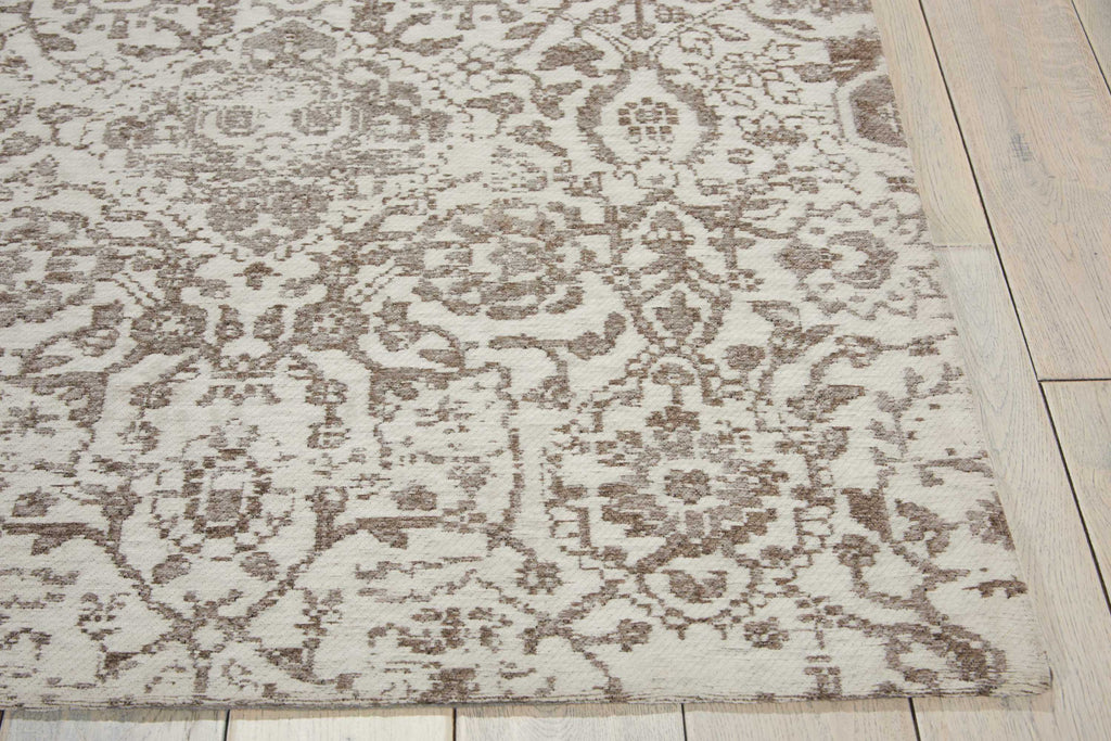 Damask DAS06 Power Loomed 83% Polyester, 14% Cotton, 3% Rayon Ivory 5' x 7' Rectangle Rug