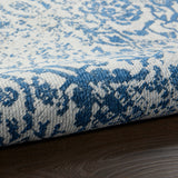 "Damask DAS06 Power-loomed 83% Polyester, 14% Cotton, 3% Rayon Blue 2'3"" x 3'9"" Rectangle Rug"