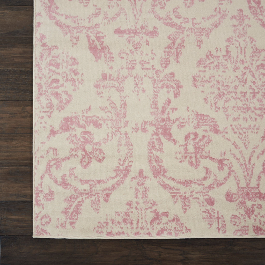 Jubilant JUB09 Power-loomed 100% Polypropylene Ivory/Pink 7' x 10' Rectangle Rug