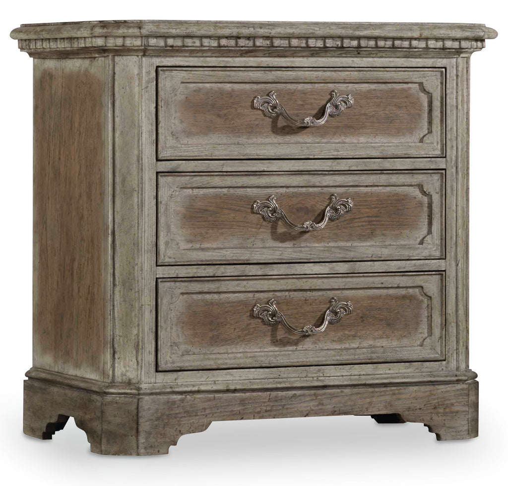 Hooker Furniture True Vintage Traditional-Formal Nightstand in Poplar and Hardwood Solids with Pecky Pecan Veneers, Cedar Veneers and Resin 5701-90016