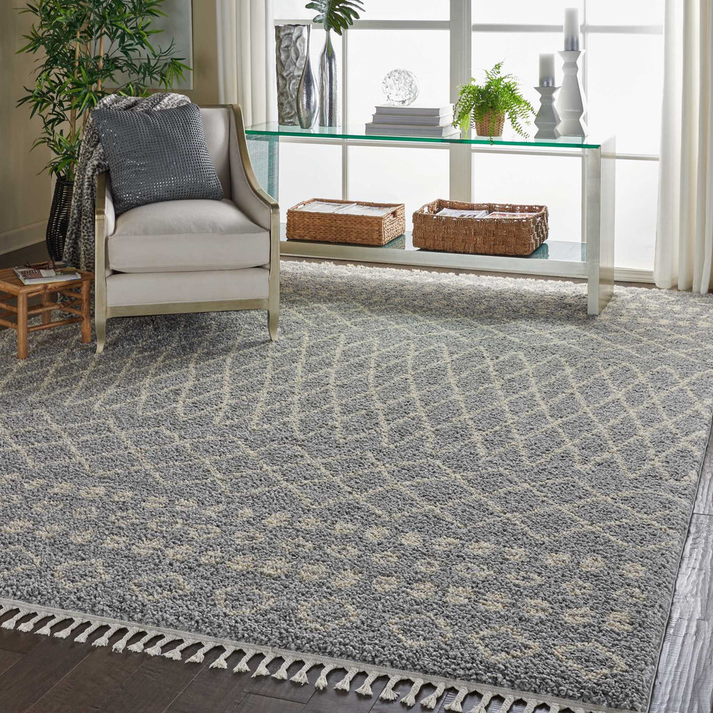 "Moroccan Shag MRS02 Power Loomed 100% Polypropylene Silver 7'10"" x 10'6"" Rectangle Rug"