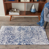 "Damask DAS06 Power Loomed 83% Polyester, 14% Cotton, 3% Rayon Ivory/Navy 2'3"" x 3'9"" Rectangle Rug"