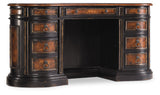 Hooker Furniture Grandover Traditional-Formal Desk in Poplar Solids, Cherry, Walnut & Maple Veneers, Golden Madrone Burl, High Quality Bonded Leather, Resin 5029-10460