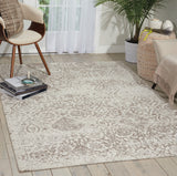 "Damask DAS06 Power Loomed 83% Polyester, 14% Cotton, 3% Rayon Ivory 3'6"" x 5'6"" Rectangle Rug"