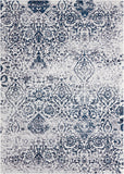"Damask DAS06 Power Loomed 83% Polyester, 14% Cotton, 3% Rayon Ivory/Navy 3'6"" x 5'6"" Rectangle Rug"
